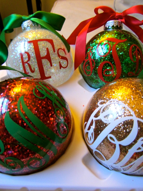 Pinterest week day 4 monogrammed glitter christmas ornaments the about those monograms i ordered mine from etsy i believe there are machines and kits you can purchase to make your own decals at home solutioingenieria Gallery